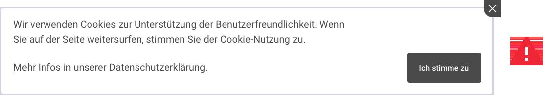 Beispiel eines falschen Cookie-Banner (Direkte Zustimmung oder Exit)