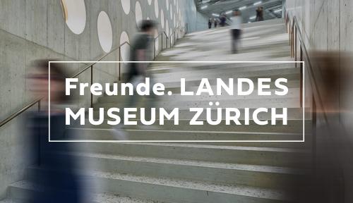 Bild von Menschen, die sich schnell auf einer Treppe bewegen, und Freunde Landesmuseum logo