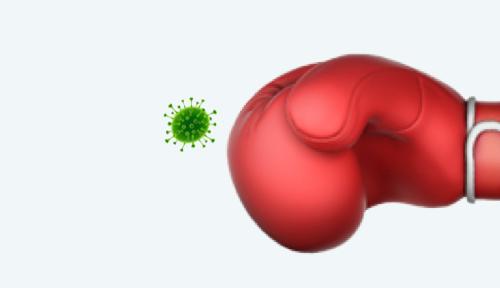 Boxhandschuh, der einen Virus schlägt