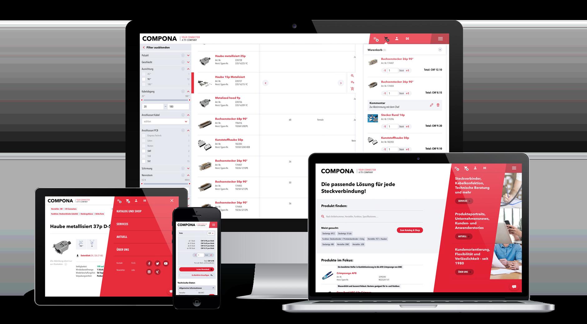 Website und Shop mit 40'000 Produkten für Compona