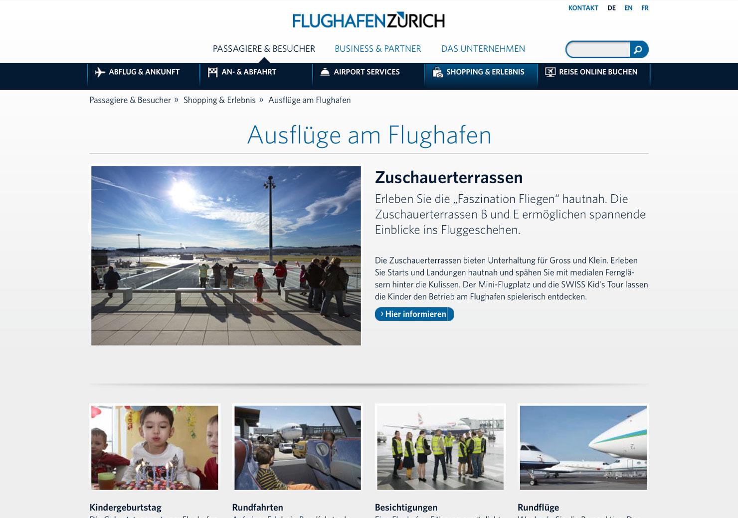 Übersichtsseite Flughafen Zürich Website slide 2