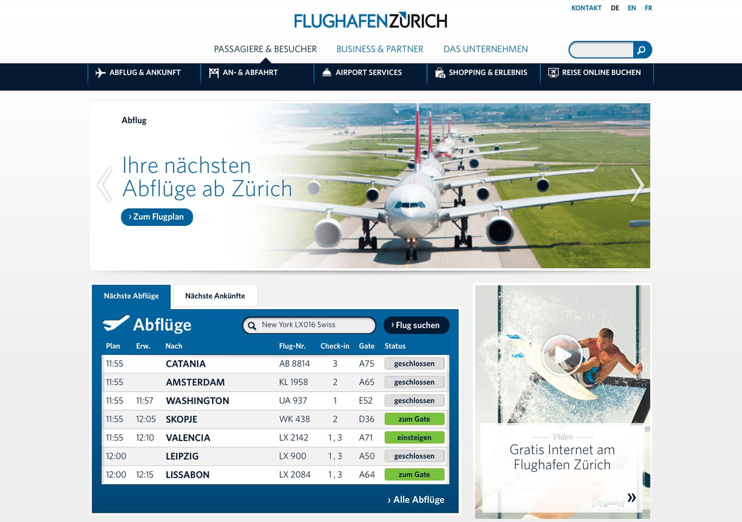 Startseite Flughafen Zürich slide 0