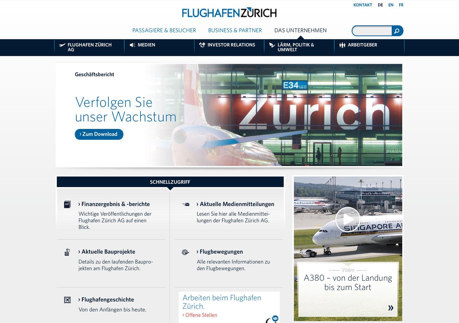 Übersichtsseite Flughafen Zürich Website slide 3