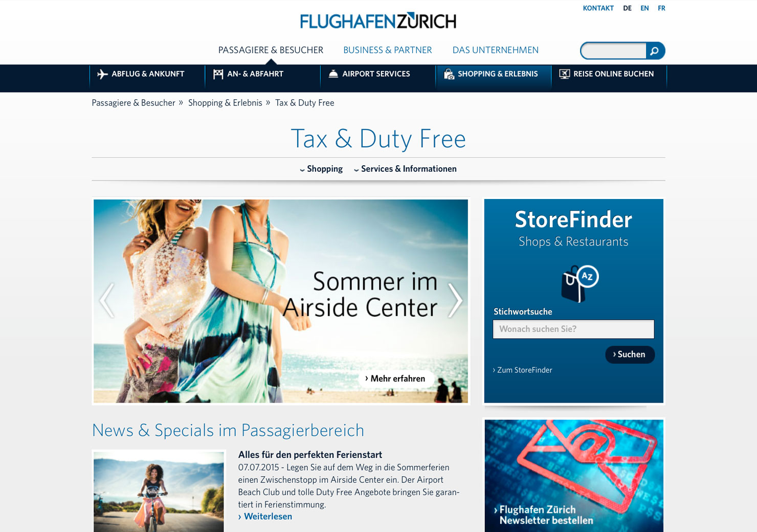 Startseite Flughafen Zürich slide 1