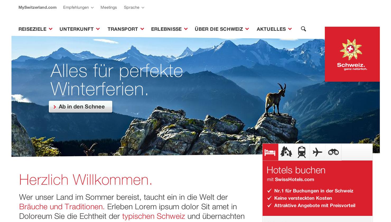 Webauftritt für MySwitzerland.com