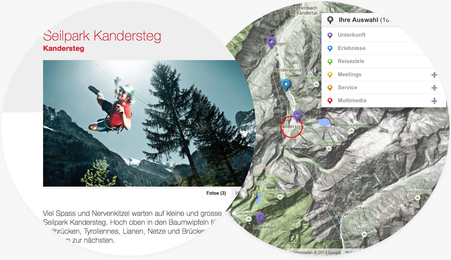 Touristische Aktivitäten und Karte