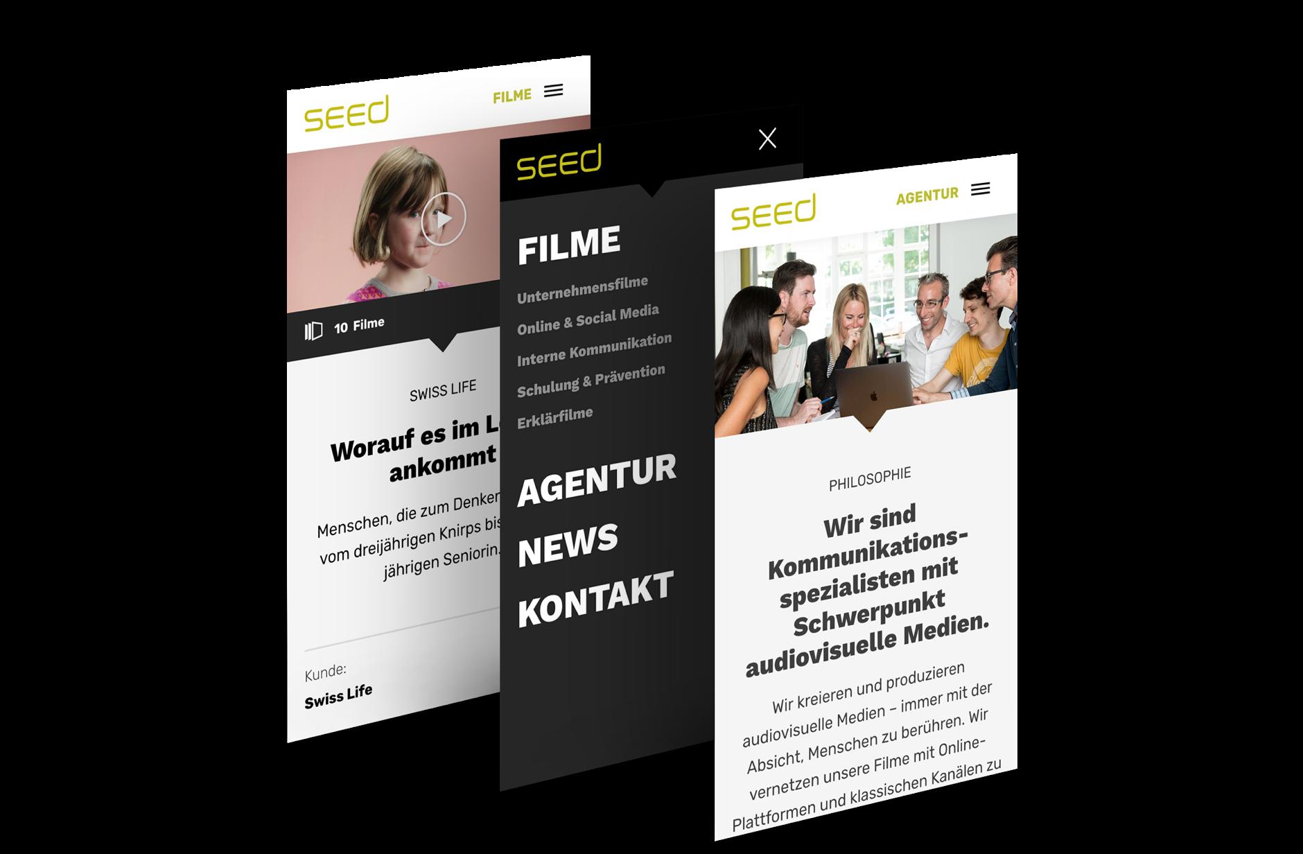 Website für Seed Audio-Visual Communication