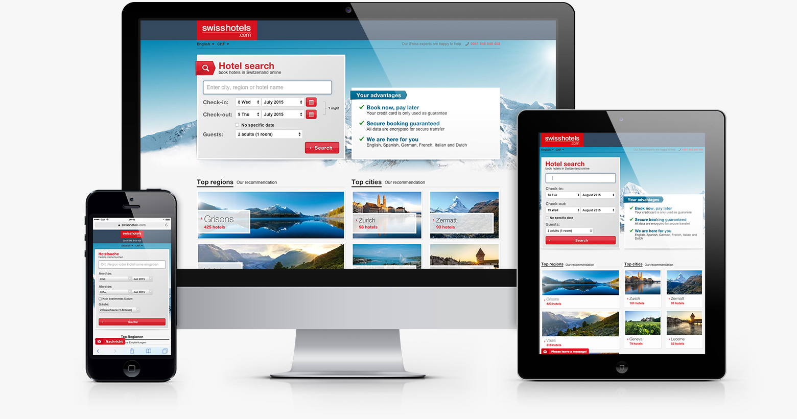 Responsive Webdesign für Hotelbuchungs-Plattform