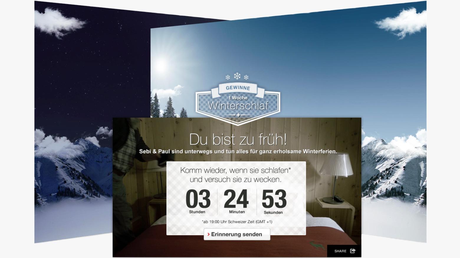 Winterschlaf Kampagne Startseite