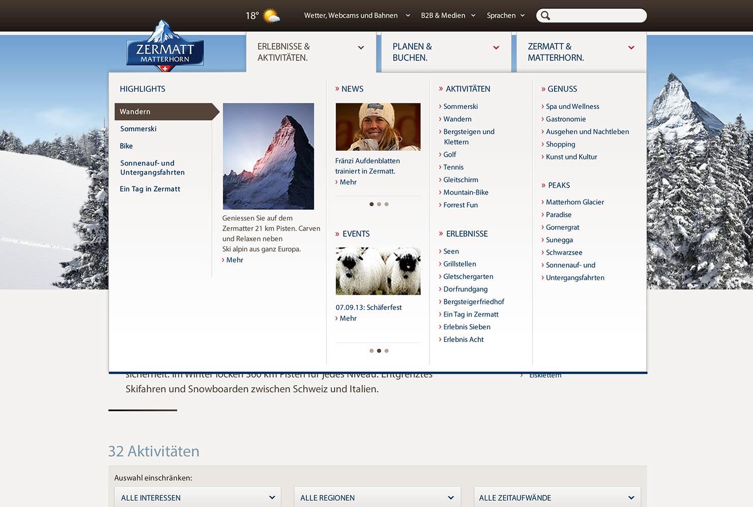 Navigation Tourismus Destination Website slide 1