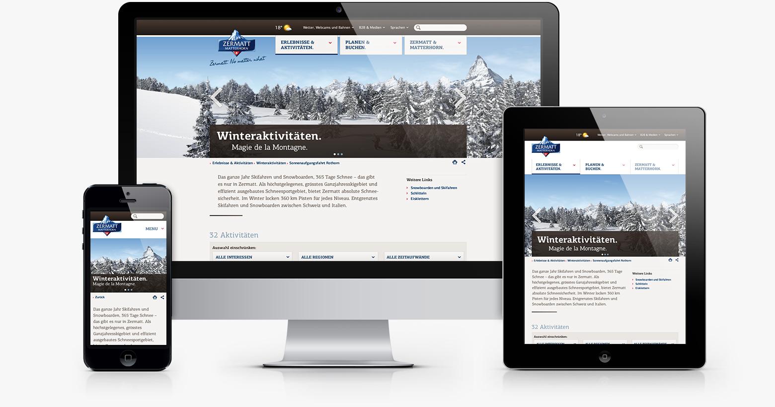 Responsive Verhalten Website Zermatt Tourismus
